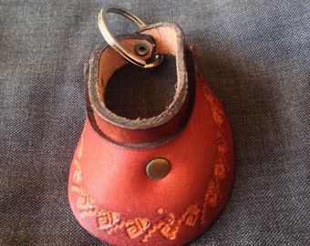 Vintage Tooled Leather Mexican Pattern Visor Hat Keychain - Dead Stock