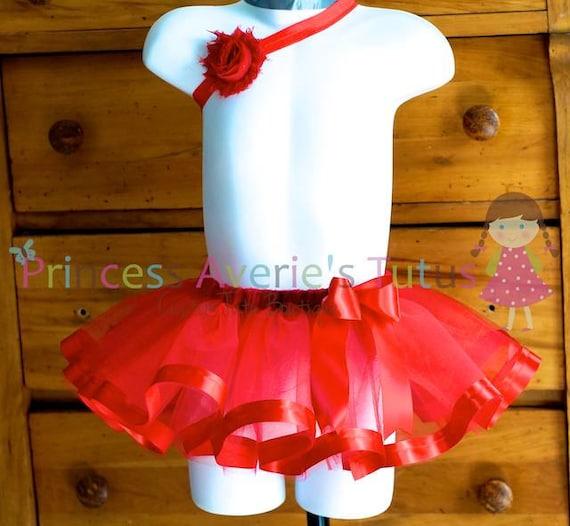 Ready to Ship Red Sweet Baby Ribbon Trim Tutu 0-6 months.