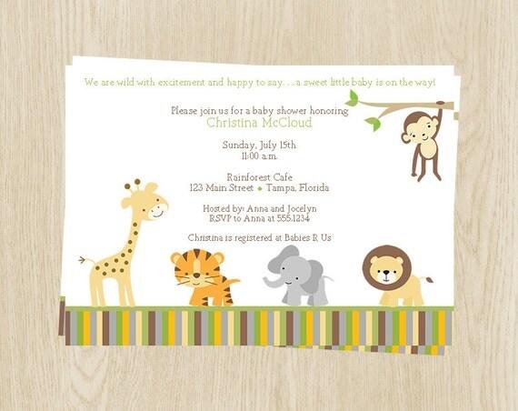 Jungle Animals Baby Shower Invitations, Unisex, Safari, Elephant, Giraffe, Monkey, Set of 10 Printed Cards, WWEGN, Wild With Excitement