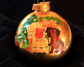 Hand Painted Ornament-Red Dachshund/Fireplace W/3D Effect-Item 740