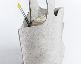 Natural Light Grey Knitting Bag / Small Wool Felt Bag