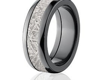 8mm Meteorite Rings in Black Zirconium, Meteorite Wedding Bands: Meteorite-Ring-8HR-Z