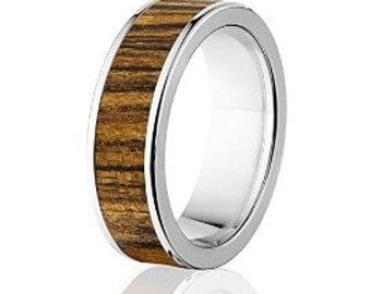New Bocote Wood Rings, Exotic Hard Wood Wedding Band w/ Comfort Fit: 7F_Bocote Wood