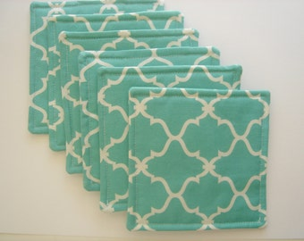 Fabric Drink CoasterTeal with White Modern Design, Set of Six