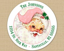 Vintage Pink Santa Claus - CUSTOM Christmas Address Labels or Stickers