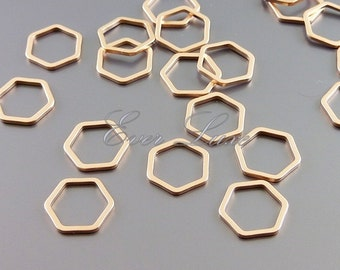 4 honeycomb / hexagonal 10mm metal charms for jewelry, jewelry making supplies, brass findings 937-MRG-10 (matte rose gold, 10mm, 4 pieces)