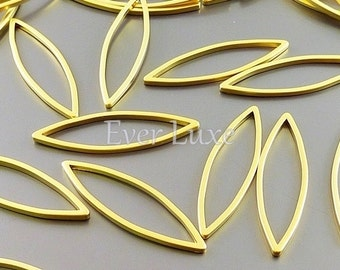 4 high quality plating- 28mm marquise charms in matte gold, Bohemian jewelry 1016-MG-28