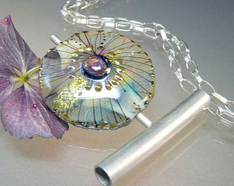 Lampwork Pendant Necklace, handmade glass bead, silver, chain, glassartist Manuela Wutschke