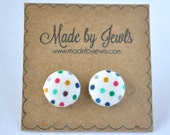 Rainbow Colored Polka Dot Handmade Fabric Covered Hypoallergenic Button Post Stud Earrings 10mm