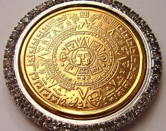 AZTEC XIHUITI CALENDAR Aztec Religion Xihuiti symbolic Natural year geographical calendar pendant medallion