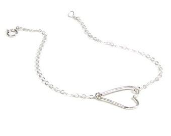 Sideways Heart Bracelet-- STERLING Silver