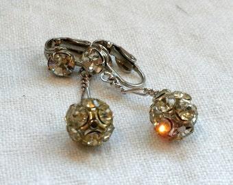 Rhinestone Ball Earrings Lots of Sparkle