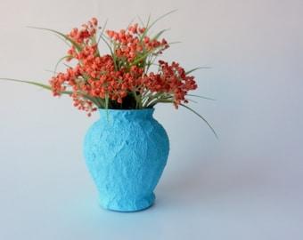 turquoise blue vase / island blue vase /  blue home decor