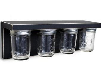 Storage shelf with Mason Jars -  Wood Shelf with Jars