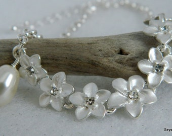 Adjustable Hawaiian Plumeria with Swarovski Pearl Wedding Day Bridesmaid Bracelet or Anklet