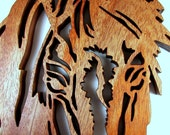 Horse Head Silhouette / Mahogany Wood / Wall Hanging / Fretwork Horse