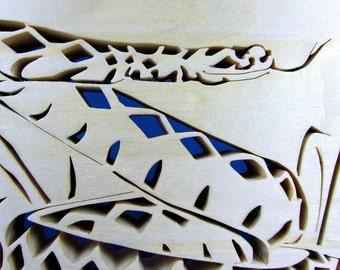 Diamondback Rattlesnake / Fretwork / Aspen Wood