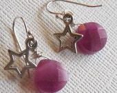Small Purple Candy Jade and Star Sterling Silver Earrings. Fuchsia, Plum, Raspberry