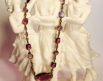 Art Deco Purple Crystal Open Back Vintage Necklace Art Deco Jewelry