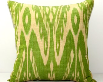 16x16, lime green ikat, green ikat pillow, green pillow, lime green, ikat pillow cover, ikat cushion, ikat, ikat fabric by Silkway