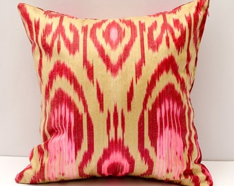 15x15 red cream pink beautiful ikat cushion cover, sofa pillow, pillow, pillows, ikats, ikat