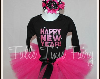 My First New Year Onesie  bodysuit tutu dress set 3/6 months Bow included Happy New Year