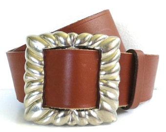 Vintage Oversized Leather Belt with Silver Buckle // Harken USA