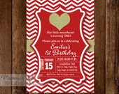 Birthday Party Invitation, Red and Gold Invitation, Glitter Heart, Red & White Chevron, Gold Heart Invitation, Valentine Invitation, DIY