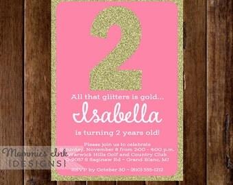 Pink and Gold Invitation, Glitter Birthday Invitation, All That Glitters Invitation, Pink and Gold Birthday Invite, DIY Printable