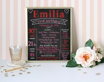 Printable First Birthday Chalkboard Sign, Valentine Birthday Chalkboard, Valentine Chalkboard, Heart Chalkboard Sign, Birthday Poster, DIY