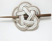 Sailor Knot Hair Stick Barrette in Tan and White