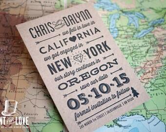 Love Story Letterpress Destination Save the Date
