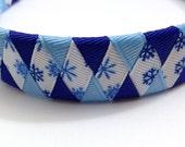 """Blue Snowflake Woven 1"""" Headband - Handmade - Ribbon Braided Headband"""