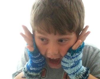 Scrappy Fingerless Mitts - Demi Mitt - Gardening Glove - Child - Youth - Blue