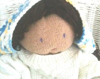 Crocheted Kerchief - Girls - Large - Blue - Yellow - White - Cotton