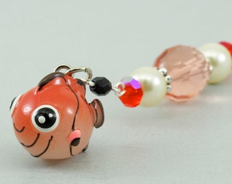 Fish Book Charm, Clown Fish Beaded Bookmark for Books, Orange Fish Reading Gift Book Club, Silver Planner Bookmark, Stocking Stuffers Kids