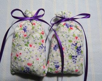 """Antique White 3""""X2"""" Sachet-'Citrus Pomegranate' Fragrance-Purple/Pink Sachet-Purple Ribbon-Cotton Herbal Sachet-Cindy's Loft-642"""