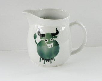 Arabia Finland Cow Pitcher Designed by Kaj Franck and Anja Juurikkala - Forest Green Cow Airbrushed