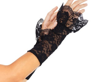 Fingerless Lace Net Gauntlet Arm Warmers With Frill Cuff Goth|Burlesque