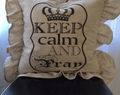 Ruffled Shabby Chic French Christian Inspiration  Farmhouse Down Pillow 55.00 includes Shipping & Down Insert