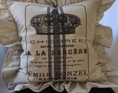 Ruffled Shabby Chic French  Farmhouse Down Pillow 45.00 includes Shipping & Down Insert