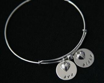 sterling silver personalized adjustable bangle bracelet