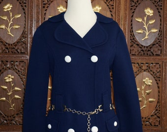 1960s Rare Marchesa di Gresy - Navy Blue Wool Knit Mod Coat Sz 10