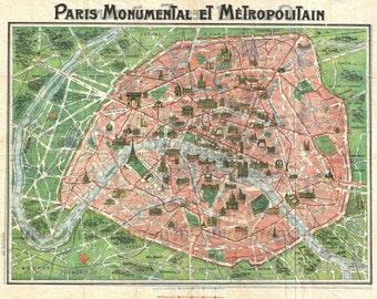 antique art deco map of paris illustration DIGITAL DOWNLOAD