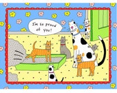 Mothers Day Cat Card Litter Box Fun with Kittens Thanks Mom