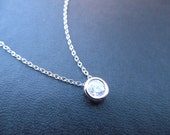 Bridesmaids gift, Wedding Gift, white gold plated round cubic necklace