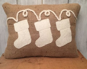 Holiday Stocking Burlap Pillow, Christmas Decor, Holiday Decoration, Wool and Burlap Throw Pillow, in stock, qick ship, sale