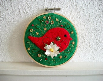 Hoop Art Mixed Media Holiday Decoration Felt Embroidery Wall Hanging One of a Kind
