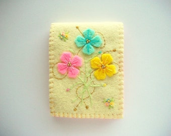 Needle Book Pastel Yellow Felt Cover with Hand Embroidered Felt Flowers