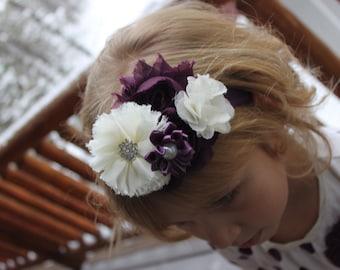 Ivory elastic headband, plum headband, eggplant headband, baby headband, purple headband, bridal headband, girl hair accessories, birthday